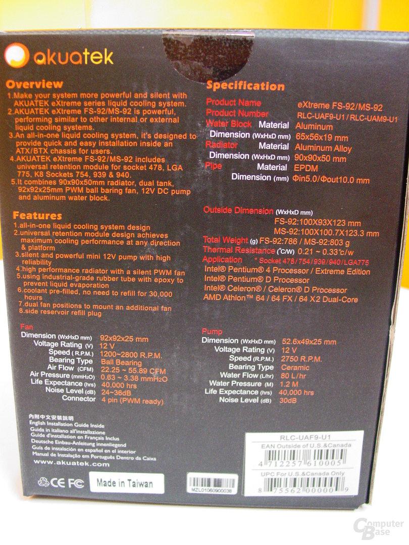 Akuatek eXtreme FS-92 Verpackung