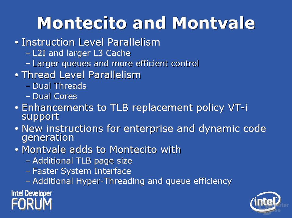 Montecito und dessen 65 nm-Nachfolger Montvale