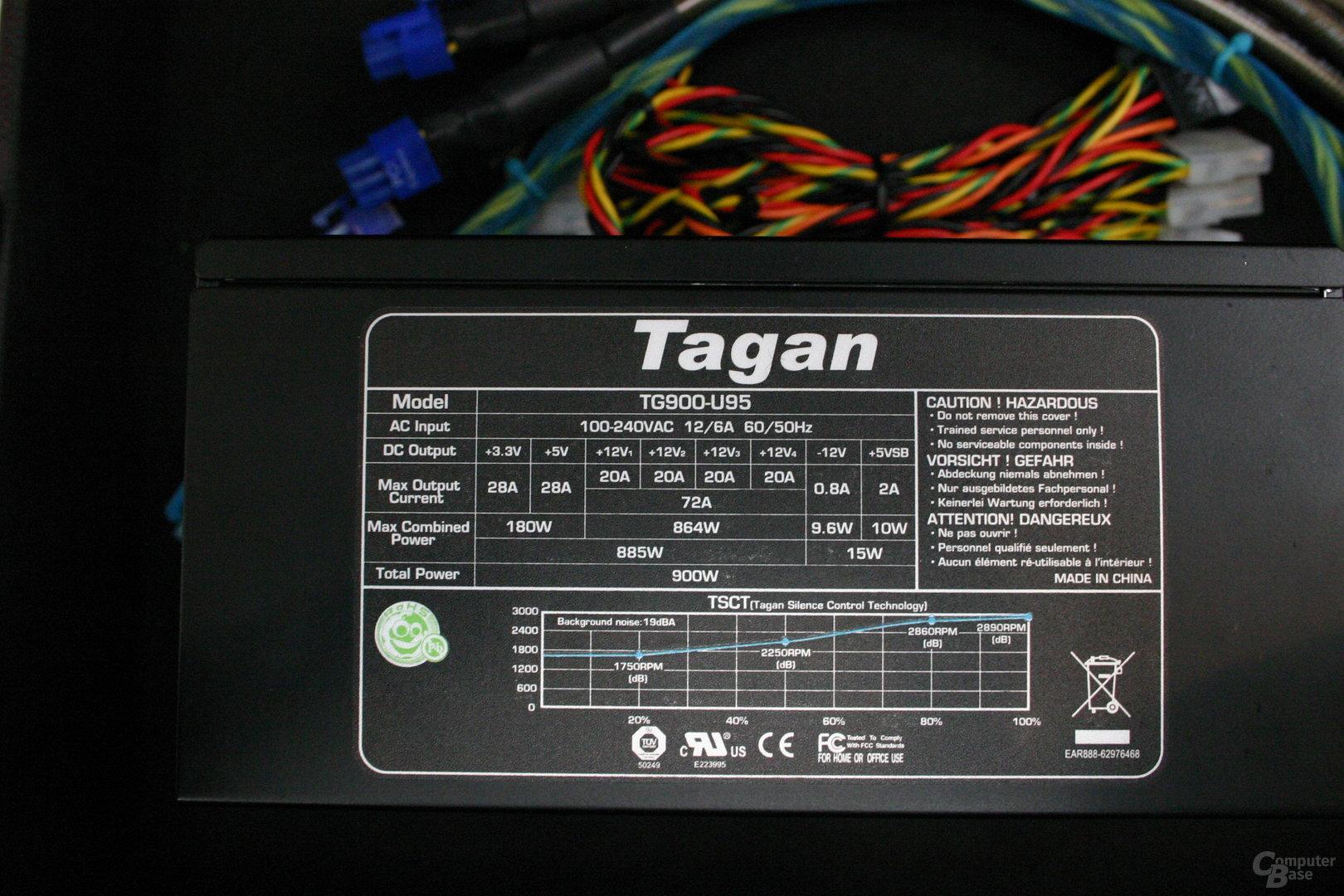 Netzteil von Tagan mit 900 Watt - Spezifikationen