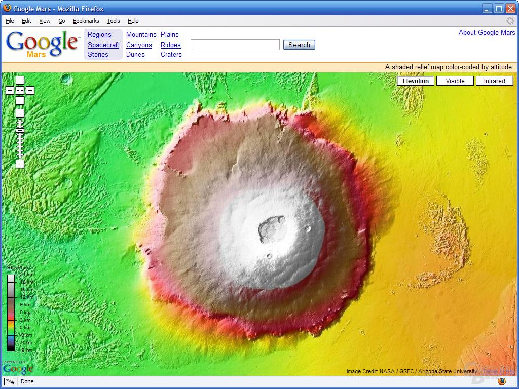 Olympus Mons – Erhebungen