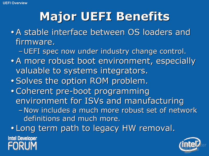 Major UEFI Benefits