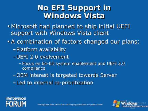 No EFI Support in Windows Vista