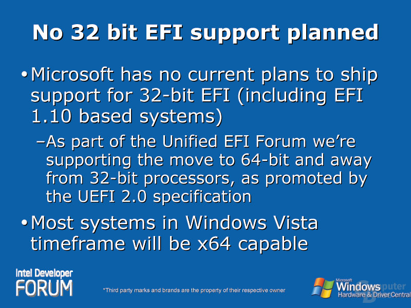 No 32 bit EFI support planned