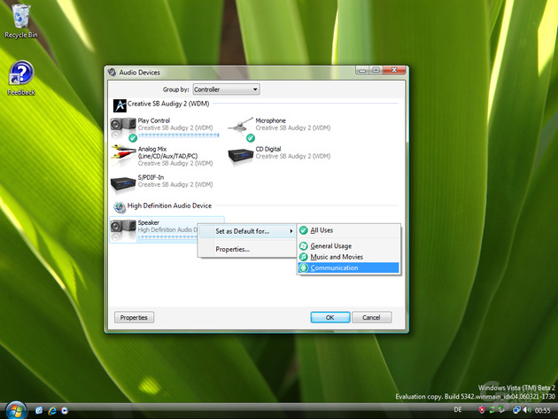 Windows Vista Audio Control Build 5342