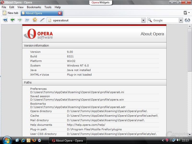 Opera 9.0 Build 8321
