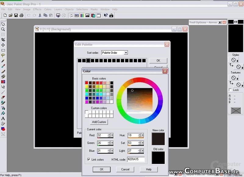 Jede der 16 Farben der 4Bit tiefen Grafik hat eine Bedeutung