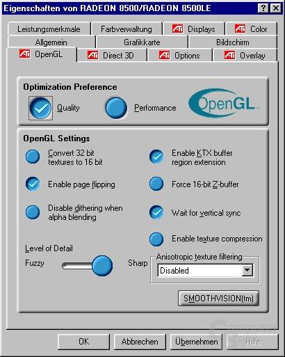 Radeon 8500 OpenGL Tab