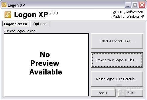 Softwareunterstützung - Logon XP Hauptmenü