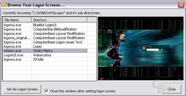 Softwareunterstützung - Logon XP Logonauflistung