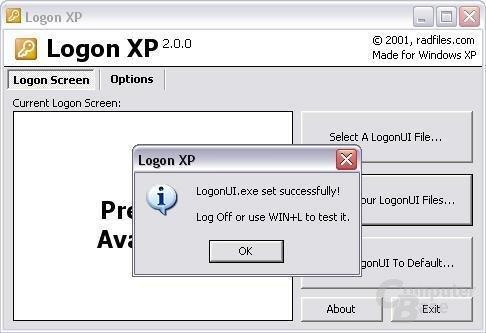 Softwareunterstützung - Logon XP Bestätigung