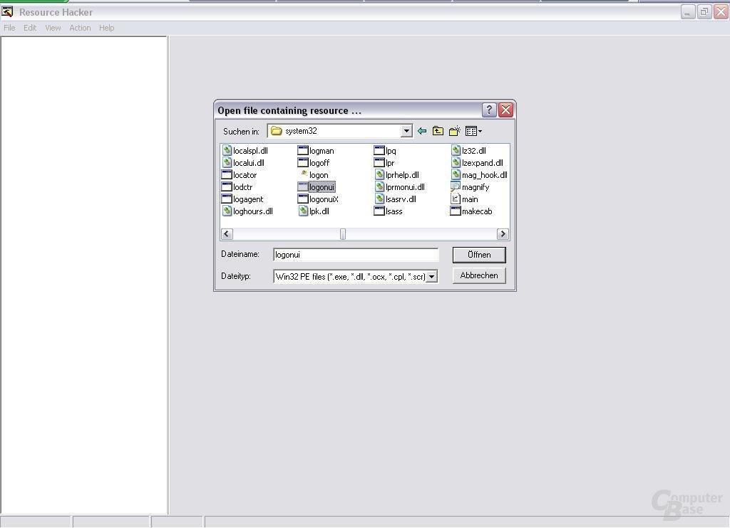 Logonui.exe mit Resource Hacker öffnen