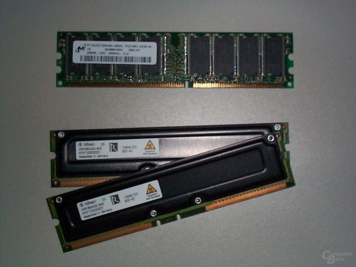 Rambus und DDR-RAM im Vergleich