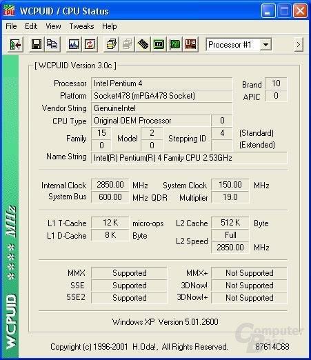Intel Pentium 4 2,54 GHz stabil auf 2,85 GHz