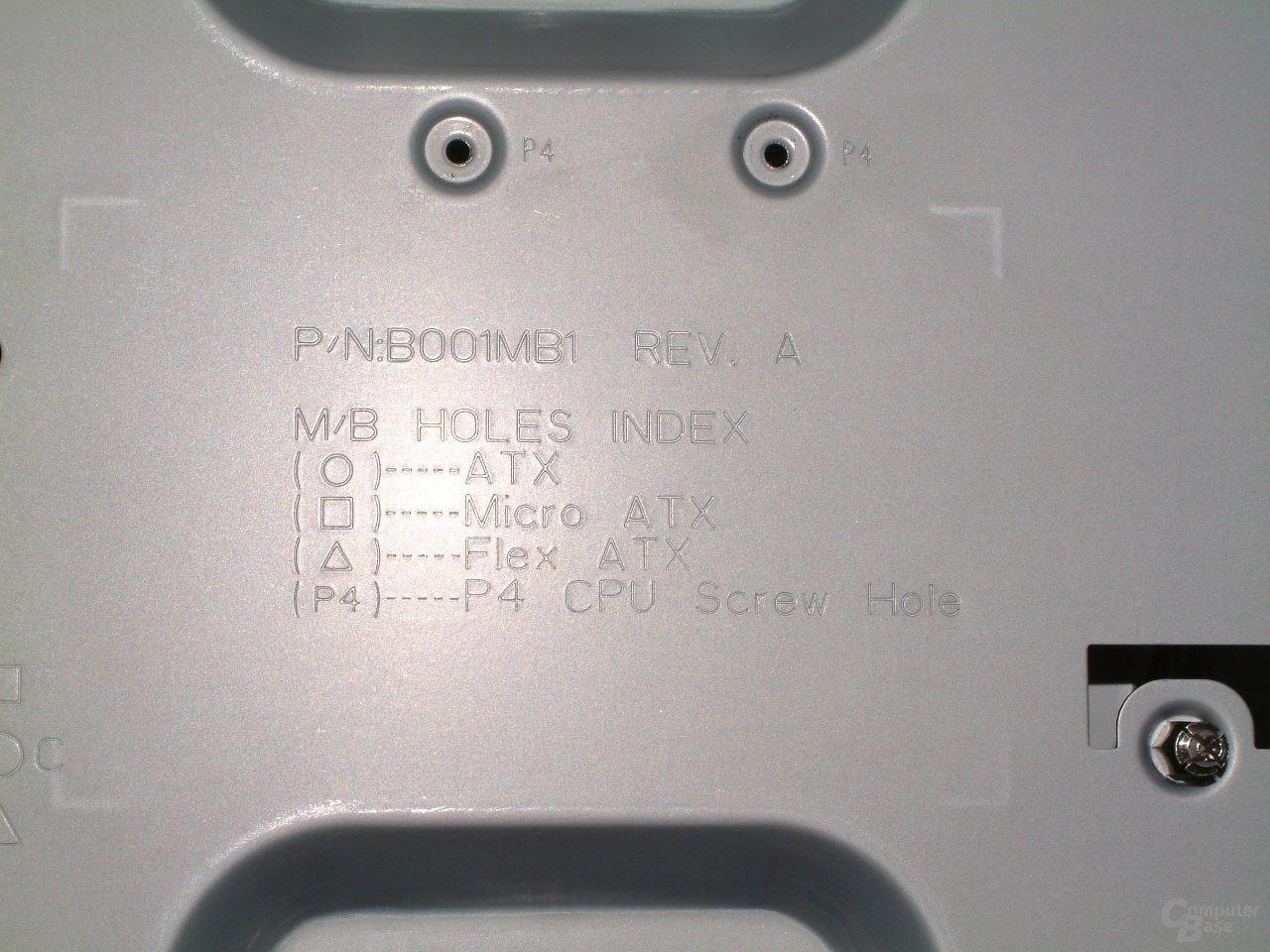 Detail: Beschriftung Mainboardhalter