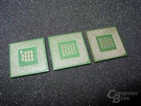 Von Links nach rechts - Pentium 4  mit 2,8 - 2,53 und 2,2 GHz (Unterseite)