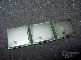 Von Links nach rechts - Pentium 4  mit 2,8 - 2,53 und 2,2 GHz