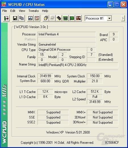 Pentium 4 2,8 GHz auf 3,15 GHz