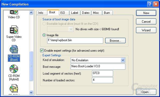 Dateien für CD auswählen