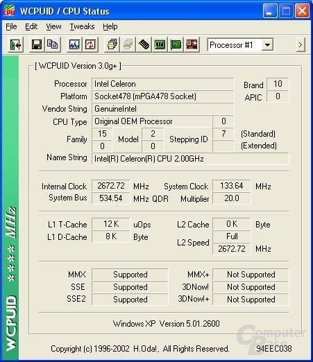 Celeron 2 GHz auf 2,66 GHz