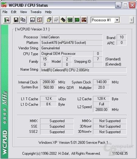 Celeron 2 GHz auf 2,8 GHz