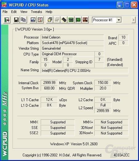 Celeron 2 GHz auf 3,0 GHz