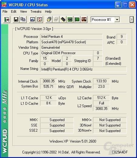 Prozessordetails des 3,06 GHz P4