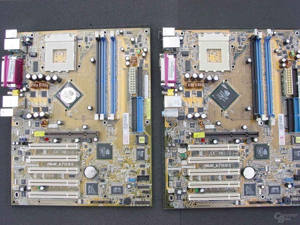 nForce 2 400 Ultra (rechts) mit rein schwarzer Northbridge/SPP