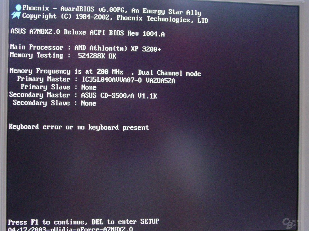 Athlon XP 3200+ beim Systemstart