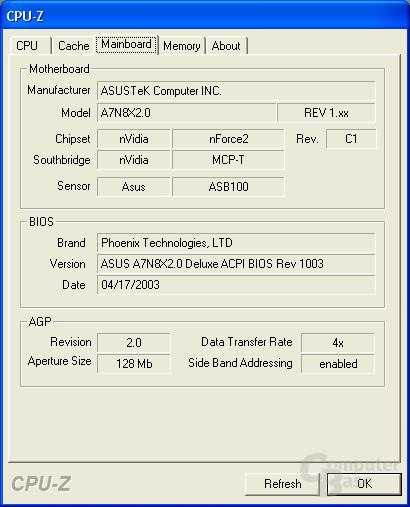 A7N8X 2.0 mit C1 Revision des nForce 2 Chipsatzes