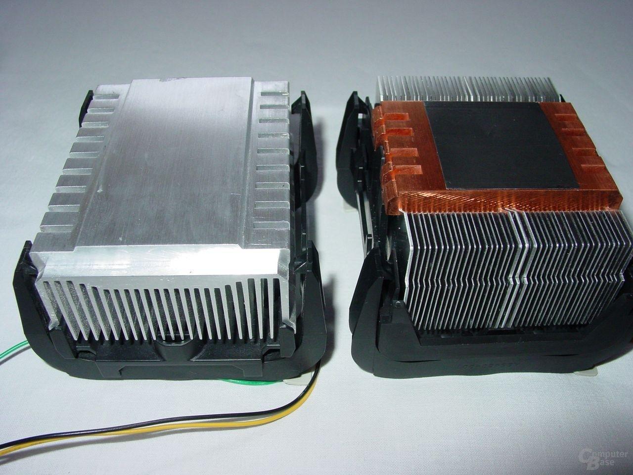 v.l.n.r: Pentium 4 Boxed Kühler bis einschl. 2,8 GHz - Pentium 4 Boxed Kühler ab 3,0 GHz (Modell A)