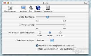 Systemeinstellungen - Dock