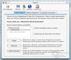 Systemeinstellungen - Mac OS 9 Emulation
