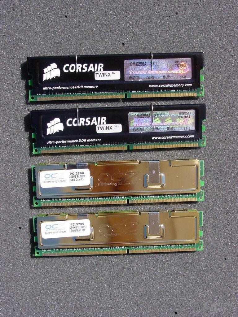 Corsair TWINX512-3700 und OCZ EL DDR PC3700 Dual Channel Gold