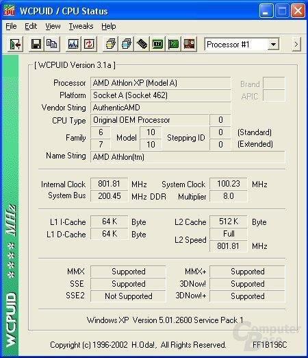 WCPUID Screenshot