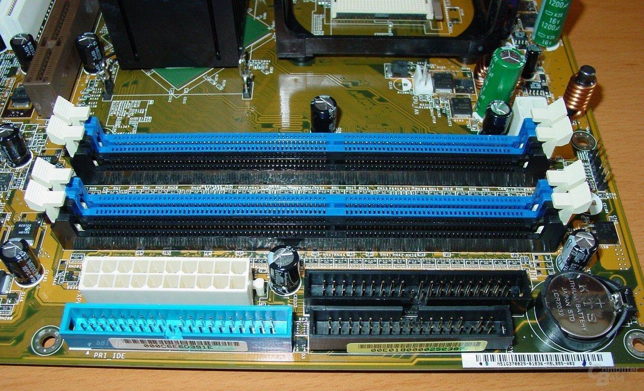 Asus P4C800-E Deluxe - RAM Steckplätze