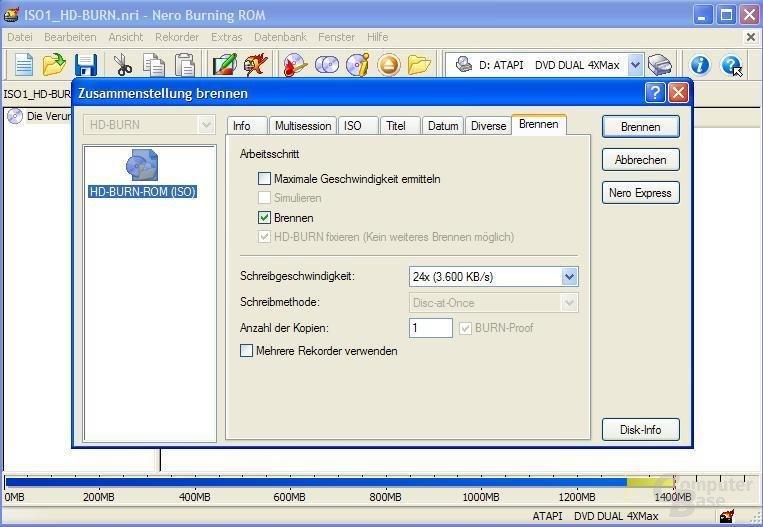Dateien auswählen und Schreibvorgang starten