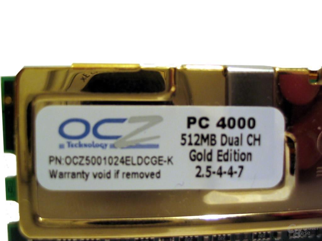 Plakette der Gold-Edition von OCZ
