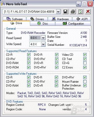 Nero Info Tool LG GSA-4081