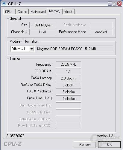 CPU-z erkennt die Module bei DDR400
