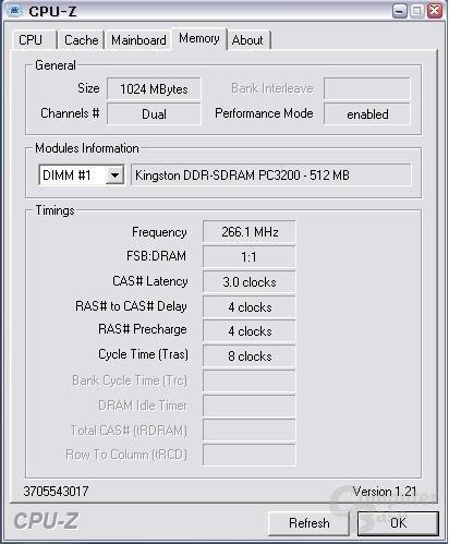 Konfiguration bei DDR533