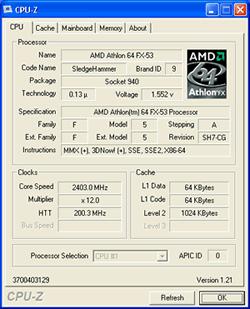 Athlon 64 FX-53 CPU-Z