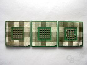 """v.l.n.r.: Pentium 4 Extreme Edition 3,4 GHz, Pentium 4 3,4 GHz """"Northwood"""", Pentium 4 3,2 GHz """"Prescott"""""""