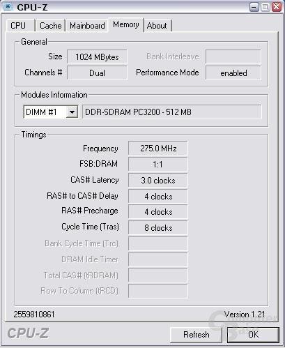 Module in ihren Spezifikationen bei DDR550