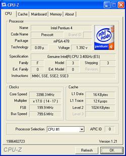 Intel Prescott 3,40 GHz mit C0-Stepping (0F33h)