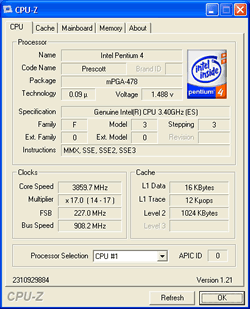 Intel Prescott 3,40 GHz auf 3,86 GHz