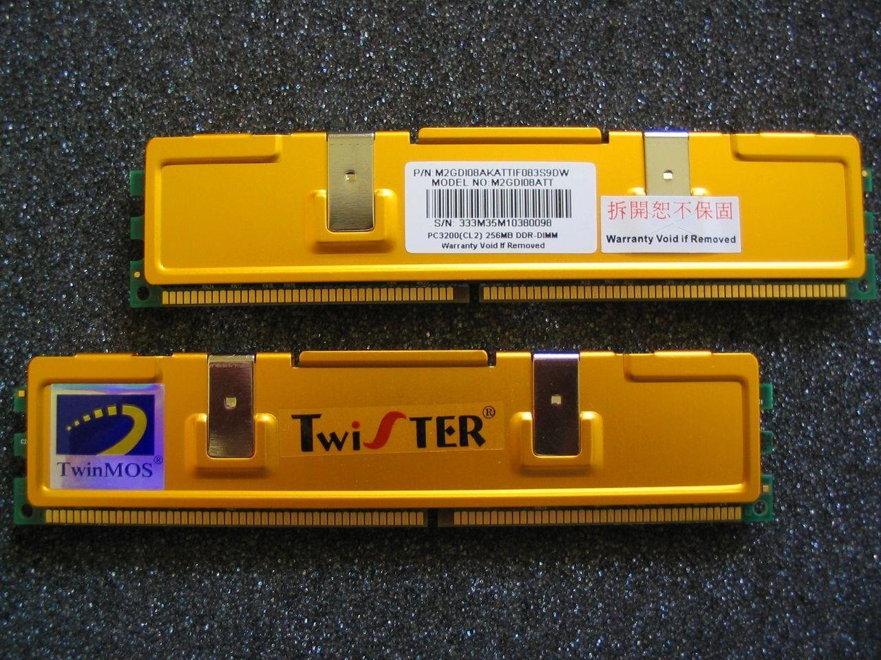 TwinMOS Twister PC3200 (CL2) 256 MB