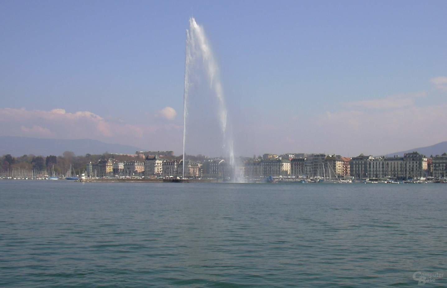 Die Fontäne über dem Genfer See