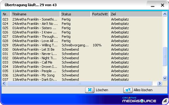 Übertragung der Dateien