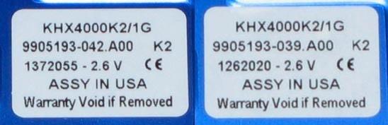 Links Hynix (042), rechts Samsung (039)