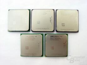 AMDs Athlon 64 im Überblick (von oben) - Oben Links der Prozessor für den neuen Sockel 939